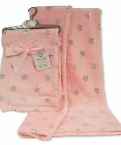 Roza deka za bebu sa sjajnim zvjezdicama