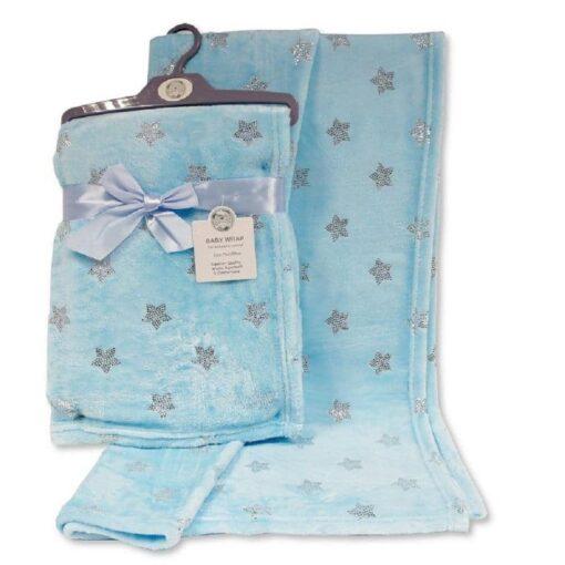 Plava deka za bebu sa sjajnim zvjezdicama